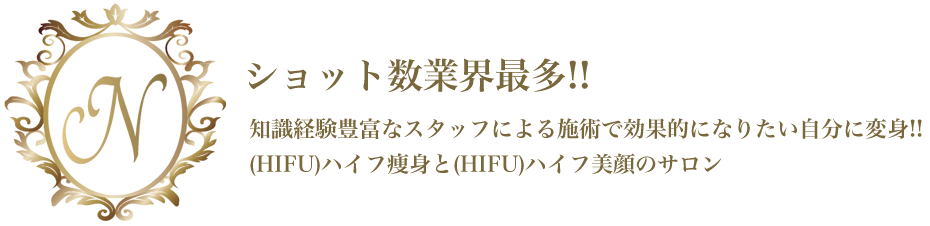 ショット数業界最多!!知識経験豊富なスタッフによる施術で効果的になりたい自分に変身!!(HIFU)ハイフ痩身と(HIFU)ハイフ美顔のサロン